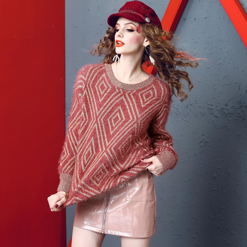 2018欧洲站冬季丝线毛衣绒套头女装宽松显瘦金打底菱格针织水貂衫
