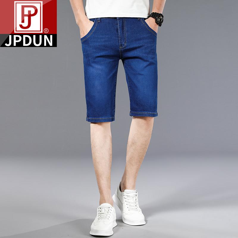 吉普盾夏季薄款牛仔短裤男士宽松直筒弹力五分中裤夏天休闲七分裤