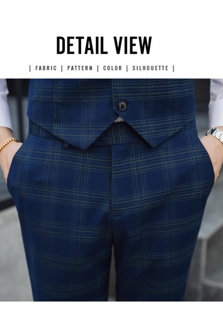 2019春季薄款男士双排扣格子西服套装三件套6027P290