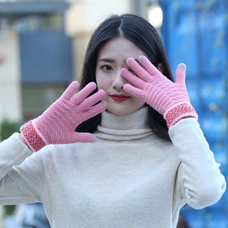 【可触屏】加绒加厚保暖针织手套