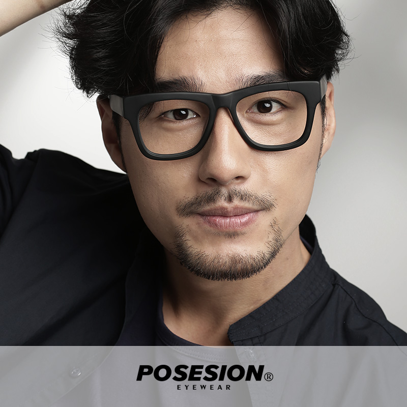 4942919536a9 Posesion plate thick frame glasses frame black frame glasses frame myopia  box large box men jpg