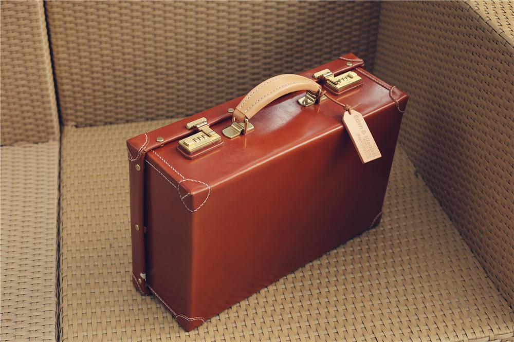 马骝手工×复古手提皮箱 植鞣牛皮行李箱旅行箱 英伦风 手艺定制
