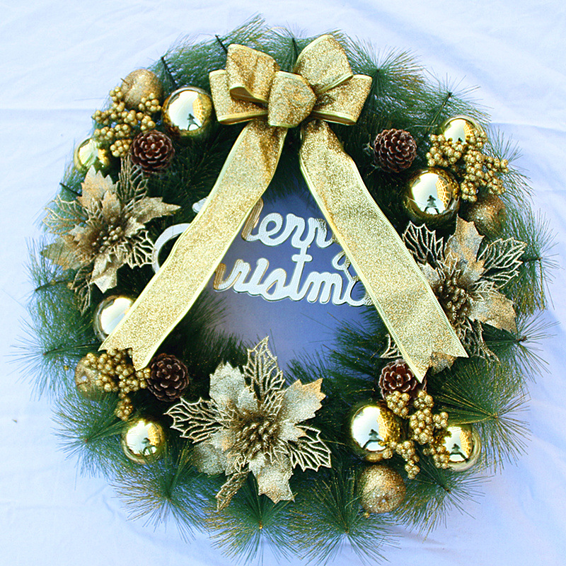 Chuanghang Christmas wreath Christmas decorations Christmas Double deer pine needle Red gold Red wreath