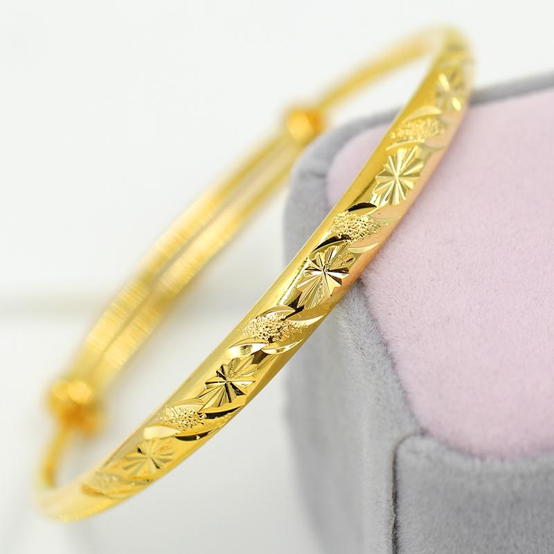 女士仿时尚黄金星雨韩版圆肚手镯24k镀金黄铜满天星个性手镯女流
