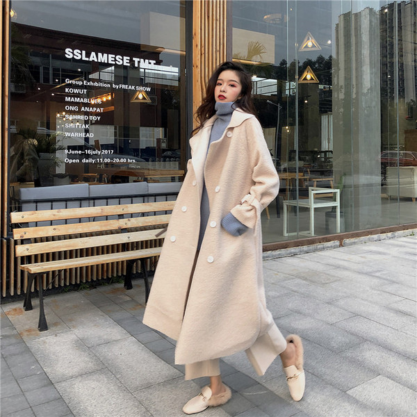 Real Shot Quality Inspection Network Red Retro Lazy Wild Gentle Double-Breasted Lamb Hair Thick Long Coat