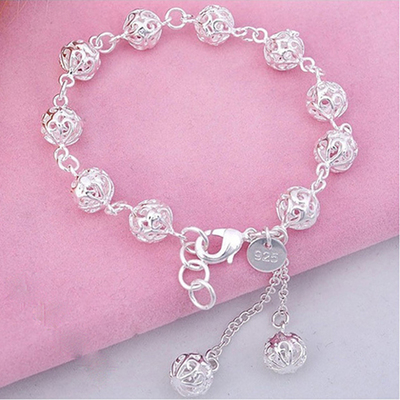 8183b3f63 Hollow ball silver bracelet Europe and the United States Japan and South  Korea cute exquisite bracelet children trendy fashion students girlfriends  silver ...