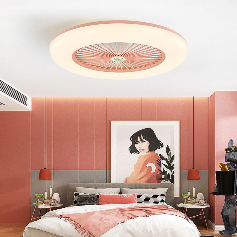 智能吸顶风扇灯卧室餐厅吊扇灯现代简约超薄隐形电扇灯带风扇吊灯