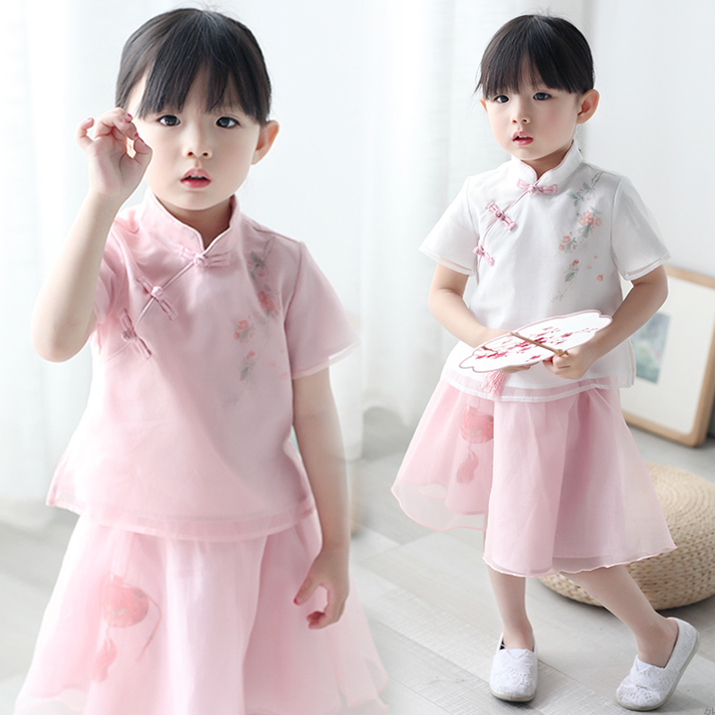 18574cdac Girls hanfu summer Chinese style children's retro suit children's clothing  little girl Tang suit baby Chinese clothing clothes