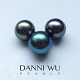 Tahitian black pearl 14mm round natural bare pearl Miss Tahitian pearl DANNIWUPEARLS