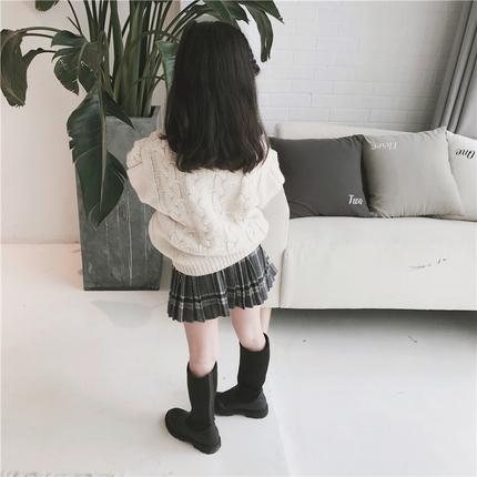 18秋冬新款半身裙秋冬款中小童格子百褶裙童装毛呢裙子儿童短裙子