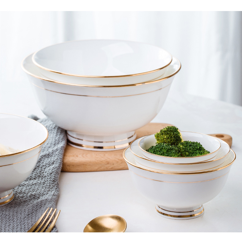 Fuels the tableware bowls of jingdezhen ipads porcelain hotel table manually bowl of hot bowl of rice bowls tall foot big rainbow such use