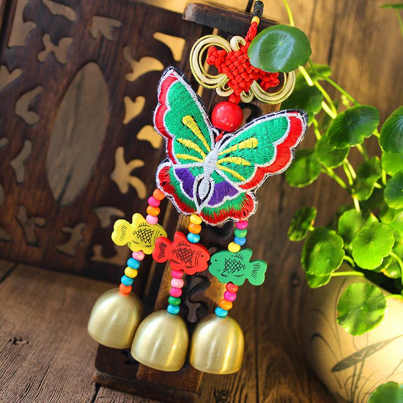 Ветер вышитый бабочка колокольчик кулон оригинал вышивка лотос сумка автомобиль вид площадь компания год может из страна подарок