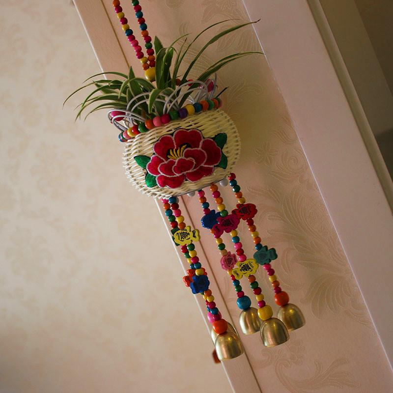 Юньнань ветер вышитый ручной работы кулон творческий домой декоративный оригинальная продукция создать pastoral ветер колокол зеленый корзины корзина корзины