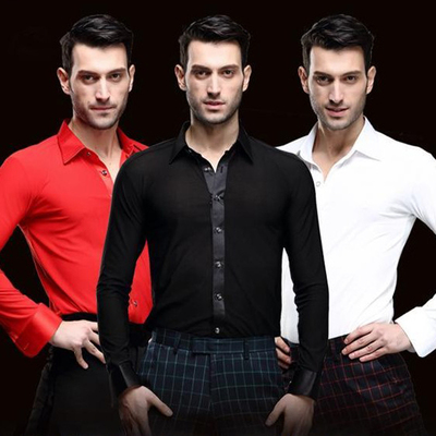 Men Latin Dance Shirts Ballroom Dance Shirts National Standard Dance, Long Sleeve Adult Modern Dance Costume