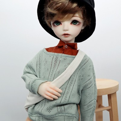 taobao agent 1/4BJD/SD male doll clothes wig TL official with 4 points casual sweater pants + mixed color angel curly short hair