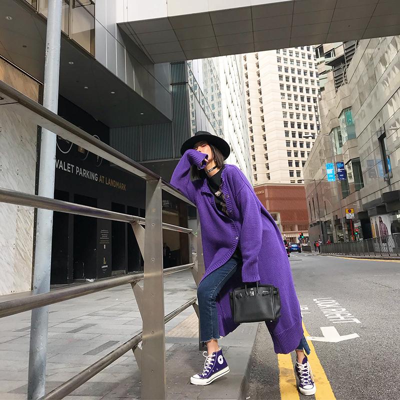ACSENSE 针织开衫外套女2019春季新款韩版纯色慵懒风超长款毛衣潮