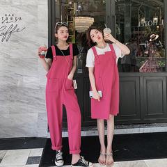 2019新款减龄网红粉色背带裤女韩版宽松夏季森女系春洋气可爱薄款