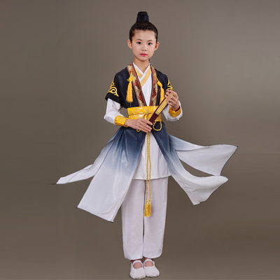 Children ancient hanfu for boys Song ming Dynasty ancient Prince chivalrous Chinese style martial arts watch performance Costume