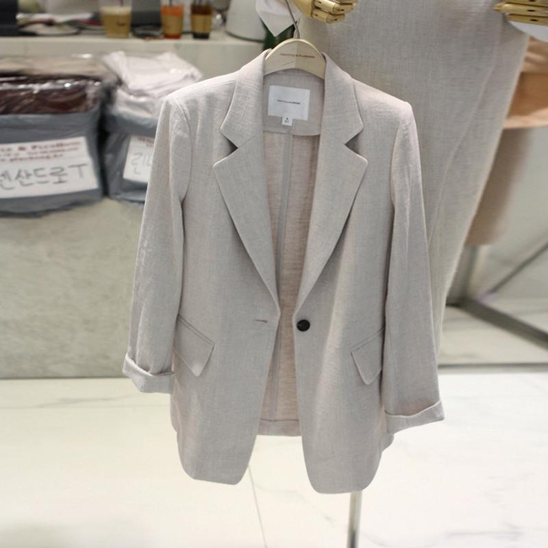 2018夏季新款韩国西服短款修身显瘦休闲亚麻小西装外套女棉麻薄款