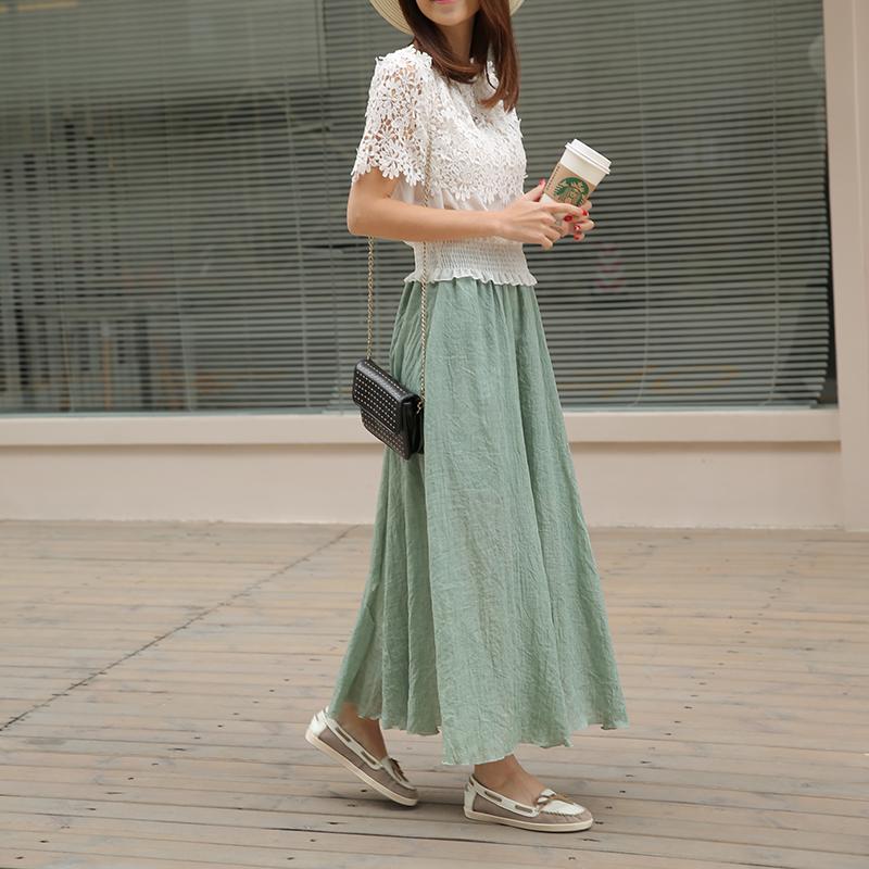 【天天特价】日系森女小清新棉麻裙森女复古文艺腰花半身大摆长裙