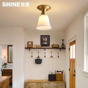 全铜美式吸顶灯走廊过道玄关入户阳台衣帽间家用现代简约小灯具