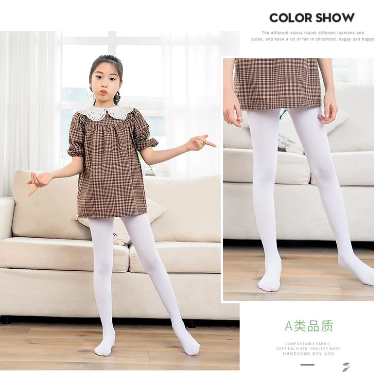 儿童裤袜春秋薄女童白色舞蹈袜黑色丝袜内搭裤袜踩脚宝宝长筒袜子详细照片