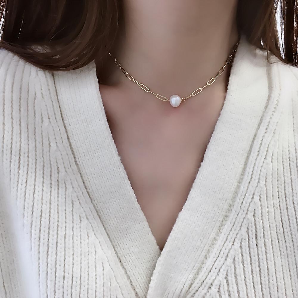 天然巴洛克淡水珍珠项炼女简约时尚迭戴链条锁骨链颈炼详细照片