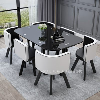 Di-small small apartment combination modern minimalist small home tempered glass table negotiation table and chair combination