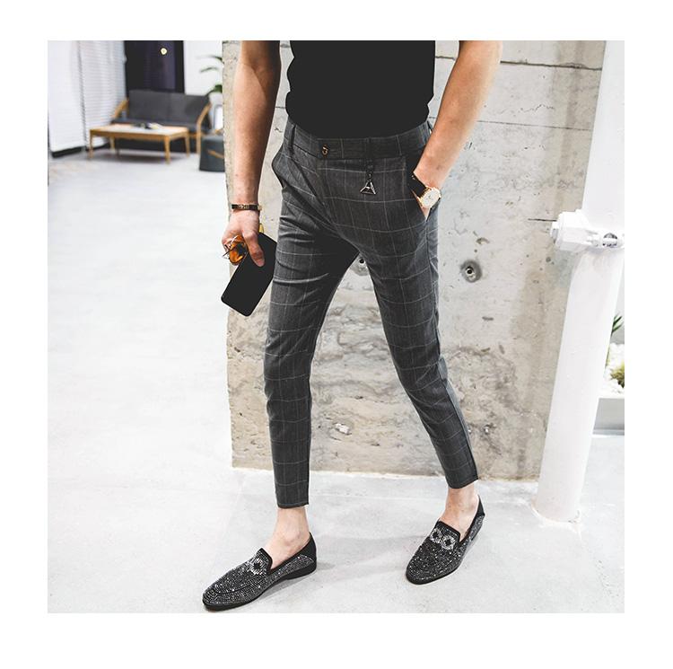 Mùa hè quần âu nam mỏng chân quần Hàn Quốc phiên bản của hoang dã chín quần kẻ sọc Anh phù hợp với quần xu hướng