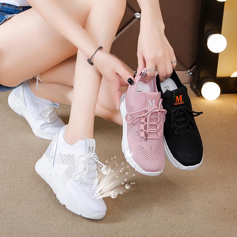 内增高鞋子运动鞋小白鞋飞织透气女鞋百搭休闲鞋2019新款夏季女鞋