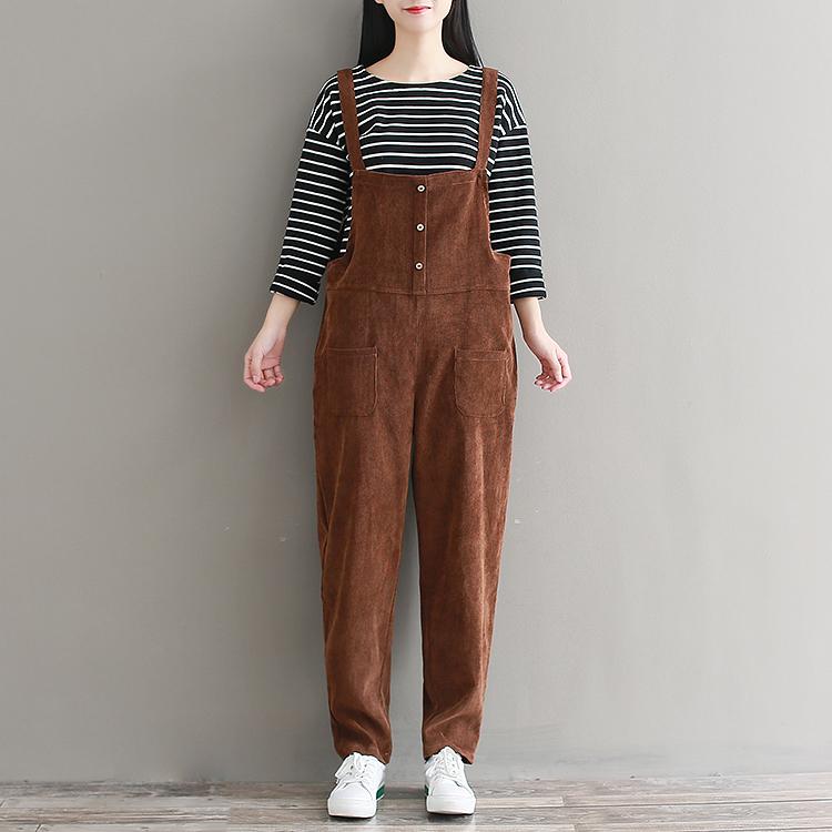 fb097067871 Plus Size Womens Suspenders Corduroy Jumpsuit 2018 Spring Autumn ...