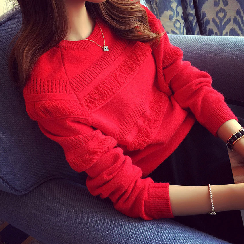 2020 new fashion autumn with loose lazy wind head knit sweater short top red sweater female autumn/winter