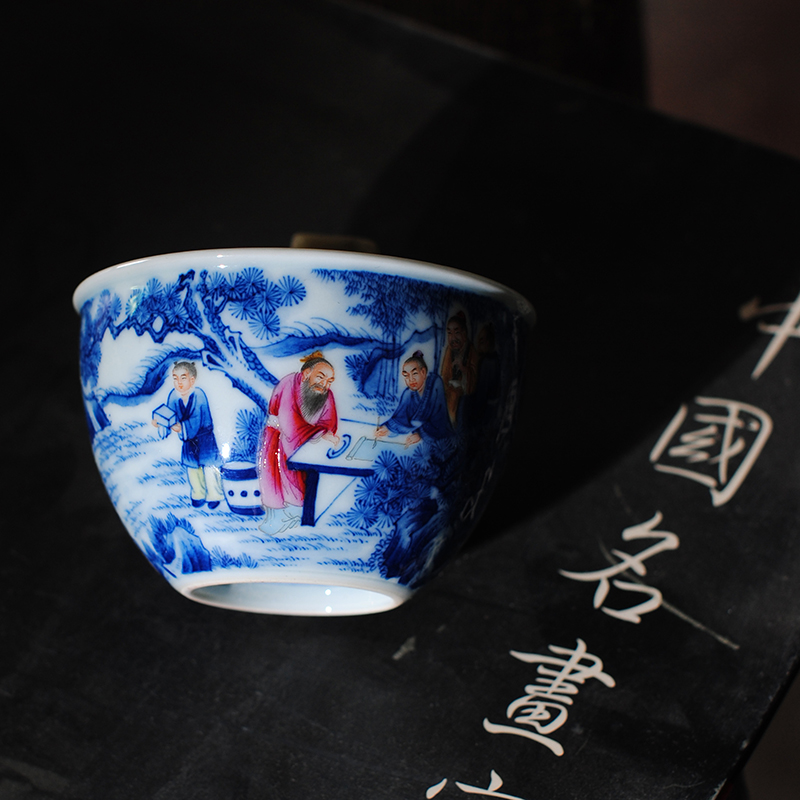 【 5.3 】 jingdezhen pure manual hand - made porcelain dou color chart master cup, wise men