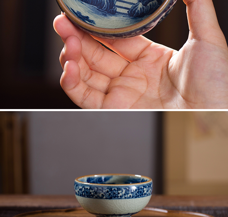 Owl up clay open piece of blue and white landscape maintain glaze cup the draw master cup single CPU manually lohan pu - erh tea cup