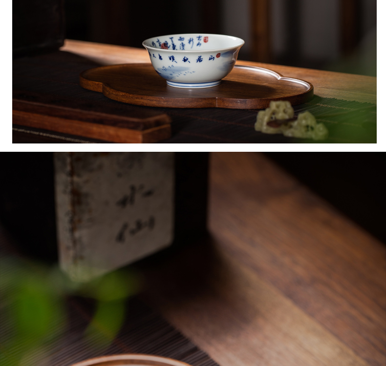The Owl up jingdezhen blue and white landscape hand - made tea set on autumn Ming maintain figure kung fu tea cup master CPU