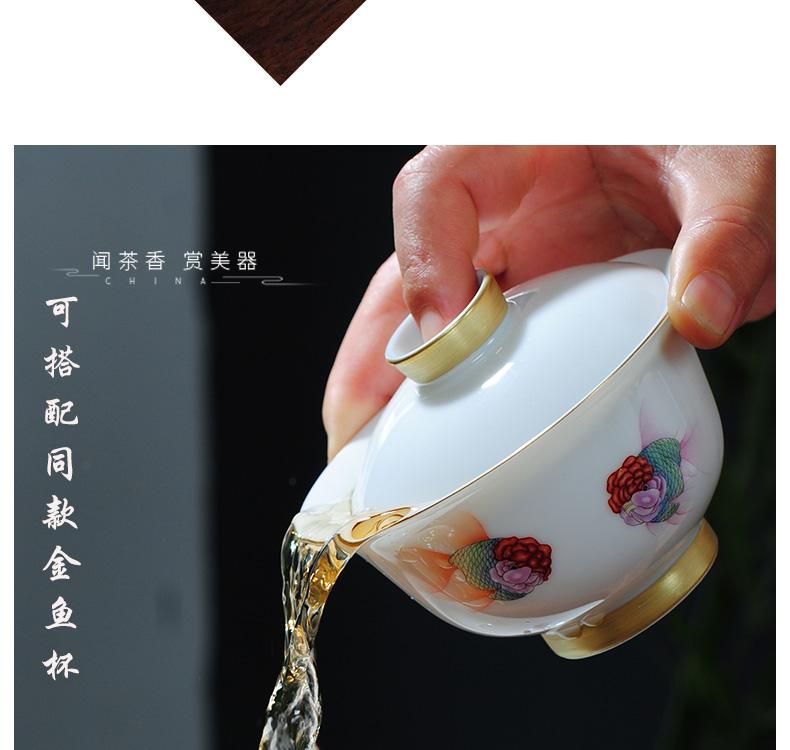 The Owl up with jingdezhen ceramic tureen tea service manual jade cups mud thin body paint kunfu tea tea cup tea sets