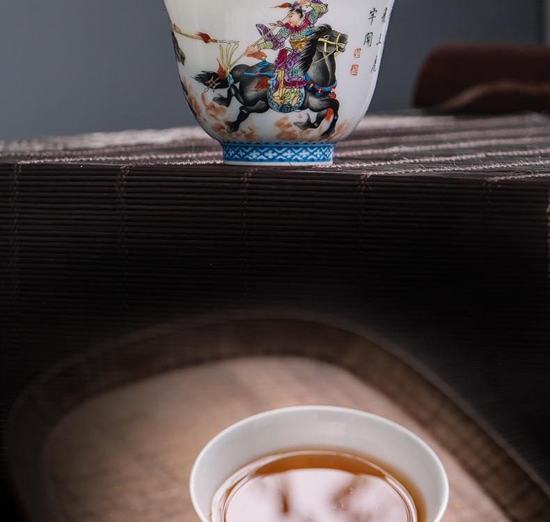 The Owl up jingdezhen tea master kung fu tea cup single CPU hand - made ancient characters make tea cup sample tea cup