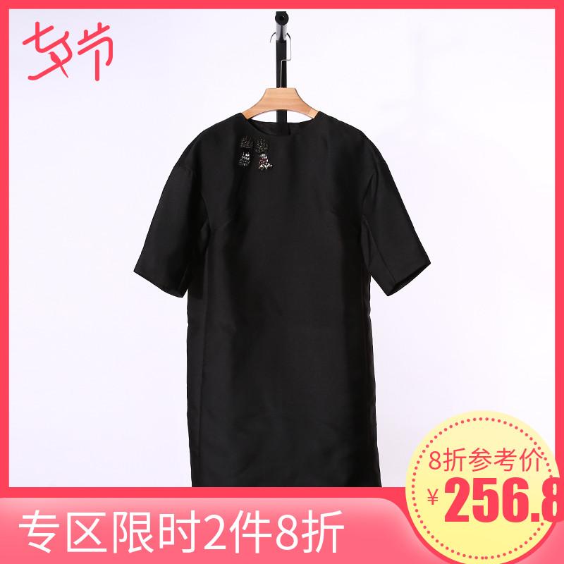 郭P玲春夏新款黑色短袖显瘦连衣裙女A15W235H