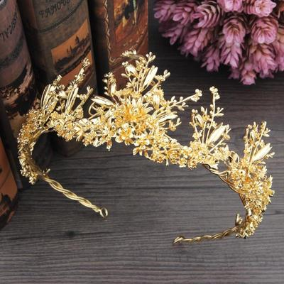 Chinese costume hair accessories wedding crown gold alloy crown hair decoration Xiuhe dress crown wedding dress headwear accessories