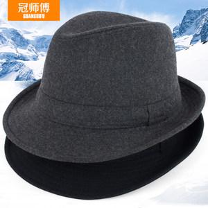 帽子男春秋礼帽男士帽子冬毛呢保暖秋冬中老年人爵士帽冬天老人帽