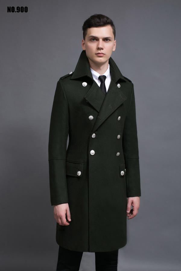 Dài áo len nam 2017 mùa thu và mùa đông mới kích thước lớn đôi ngực retro len coat quân xanh NO.900