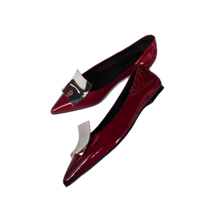 14334b4451 USD 88.86] ALEXSARA2019 new wine red leather pointed patent leather ...
