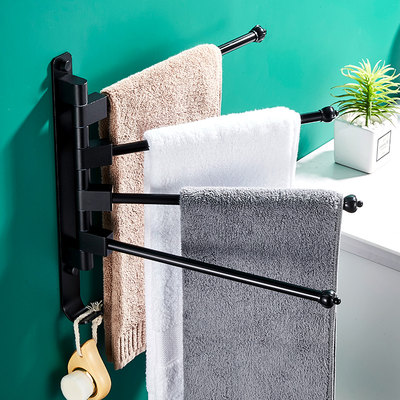 Rotating towel rack free punching towel pole bathroom bathroom rack toilet folding activity towel hanging shelf