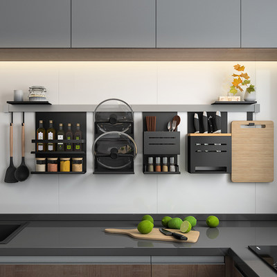 Kitchen spice rack wall rack free punching supplies hardware pendant condiment pot cover rack knife rack storage rack