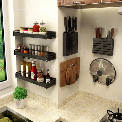 Kitchen free hole black flavor shelf wall hanging tool holder household kitchen supplies storage shelf
