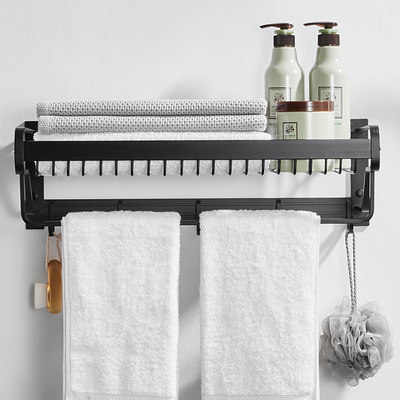 Nordic towel rack free punch space aluminum bathroom bathroom rack black bath towel union toilet hardware pendant