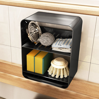 Kitchen sink rag drain wall hanging-free punching faucet shelf dishwashing pool sponge storage shelf
