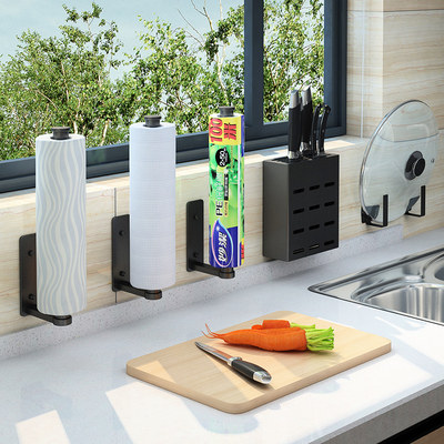 Kitchen paper towel rack free perforated cling film hanger household roll paper rack fresh-keeping bag storage shelf wall-mounted