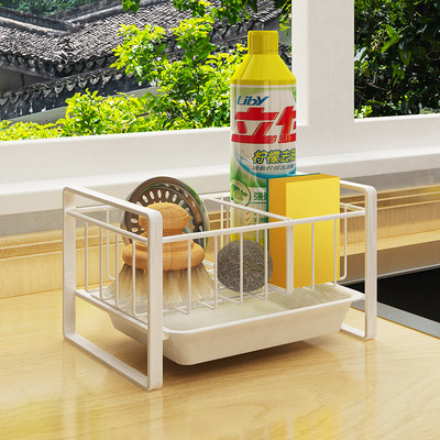 Kitchen sponge rack rag supplies drain rack faucet shelf sink dish cloth countertop storage artifact