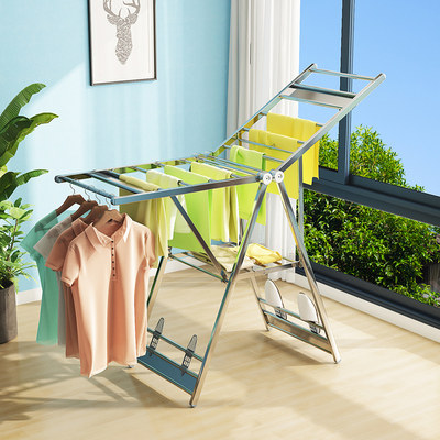 Floor folding drying rack indoor home clothes rod balcony baby cool clothes outdoor plus dry sun